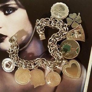 Vintage 1950s Charm Bracelet Sterling Silver